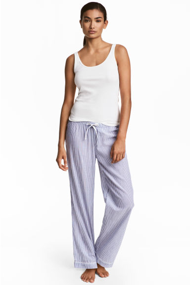 Cotton pyjama bottoms - Blue/White/Striped - Ladies | H&M 1