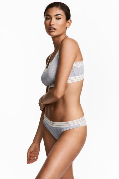 Microfibre Brazilian briefs - Grey marl - Ladies | H&M CN 1