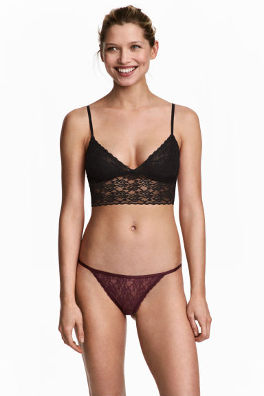 3-pack lace thong briefs - Burgundy - Ladies | H&M CN 1