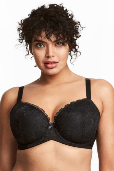Padded underwired bra E/F cup - Black - Ladies | H&M 1