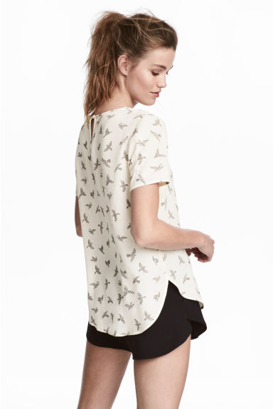 Short-sleeved blouse - Natural white/Birds - Ladies | H&M CA