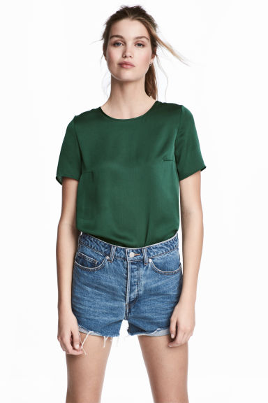 Short-sleeved blouse - Dark green - Ladies | H&M CA 1
