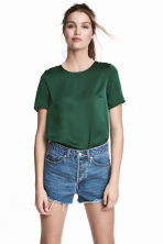 Short-sleeved blouse - Dark green - Ladies | H&M 1