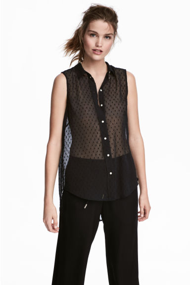 Sleeveless blouse - Black - Ladies | H&M 1