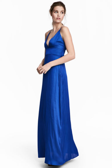 Satin maxi dress - Cornflower blue - Ladies | H&M