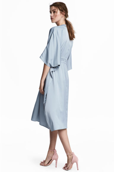 Satin kaftan dress - Light blue - Ladies | H&M CN 1