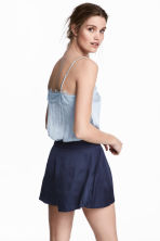 Strappy satin top with lace - Light blue - Ladies | H&M 1