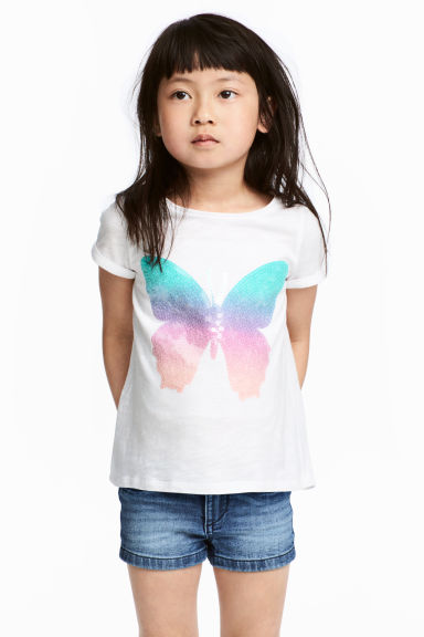 Jersey top with sequins - White/Butterfly - Kids | H&M CN 1