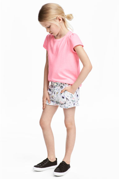 Katoenen short - Wit/dessin - KINDEREN | H&M BE
