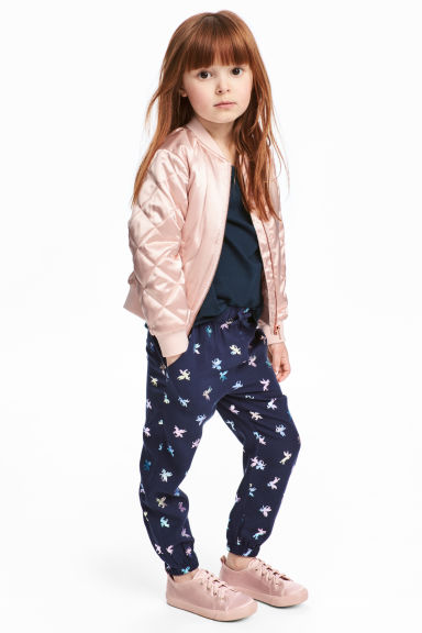Patterned pull-on trousers - Dk.blue/Unicorn - Kids | H&M