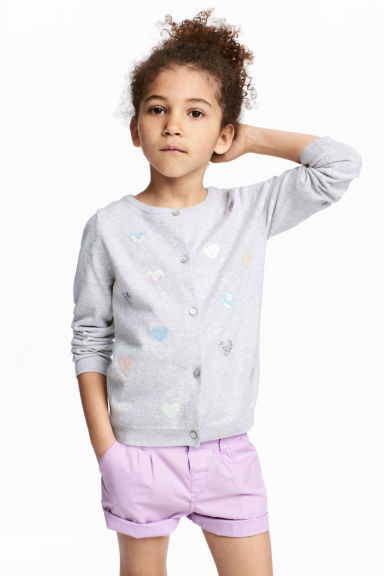 Sequined cotton cardigan - Light grey/Heart - Kids | H&M CN 1