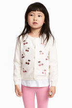 Sequined cotton cardigan - Natural white/Cherry - Kids | H&M CN 1
