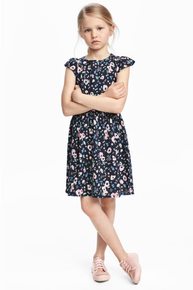 Dress with frilled sleeves - Dark blue/Floral - Kids | H&M 1