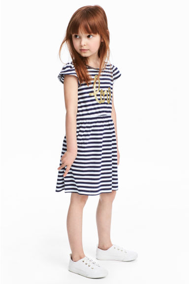 Dress with frilled sleeves - White/Dark blue/Striped - Kids | H&M 1