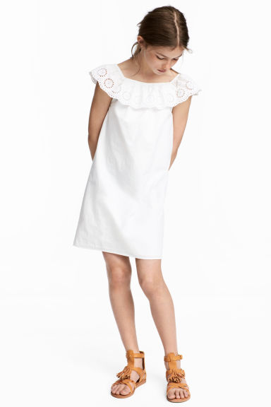 Off-the-shoulder dress - White - Kids | H&M