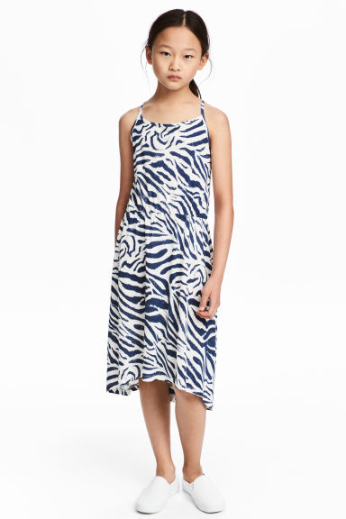 Printed dress - White/Dark blue -  | H&M