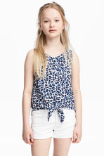 Sleeveless tie blouse - White/Leopard print - Kids | H&M CA 1
