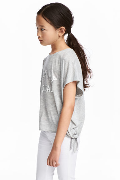 綁帶上衣 - Grey marl - Kids | H&M 1