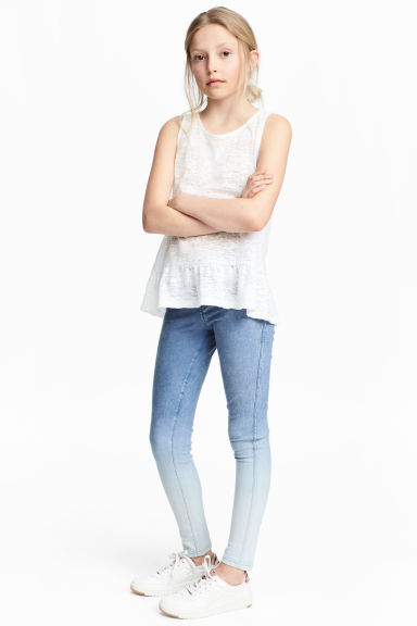 Denim leggings - Blue washed out - Kids | H&M 1