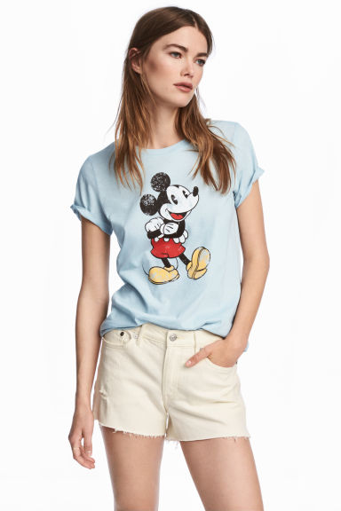 T-shirt with a print - Light blue/Mickey Mouse - Ladies | H&M CN 1