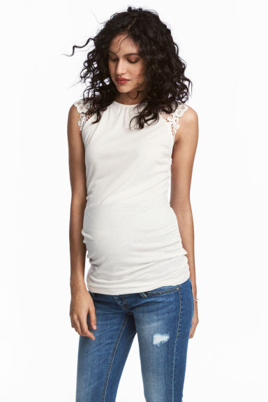 MAMA Top with lace sleeves - White - Ladies | H&M 1