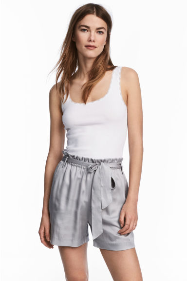 Lace-trimmed cotton vest top - White - Ladies | H&M