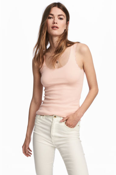 Lace-trimmed cotton vest top - Powder pink - Ladies | H&M CN 1