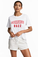 Pyjama top and shorts - White - Ladies | H&M CN 1