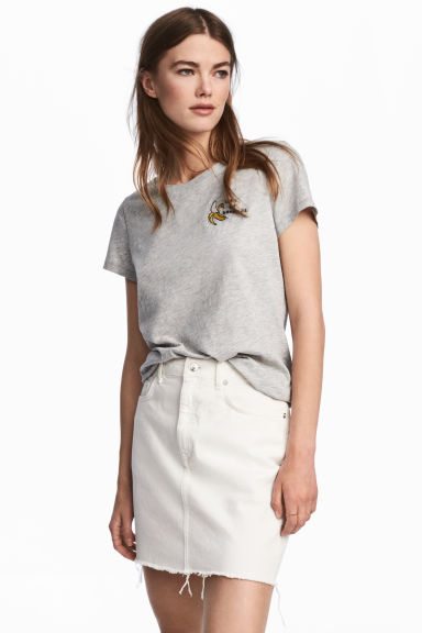 Denim skirt - White denim - Ladies | H&M CN 1