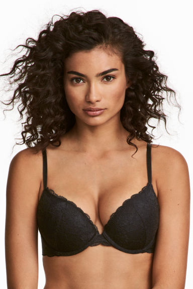Reggiseno push-up in pizzo - Nero - DONNA | H&M CH