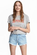 Cropped T-shirt - Grey marl - Ladies | H&M CN 1