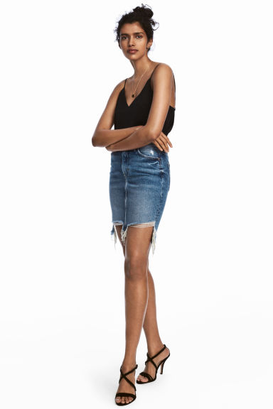 Denim skirt - Denim blue trashed - Ladies | H&M GB