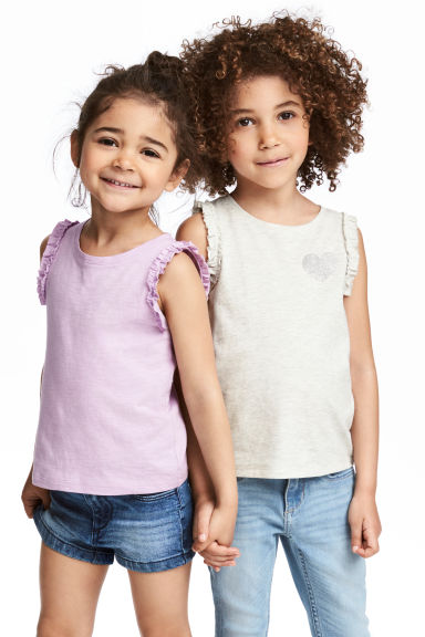 2-pack tops - Light beige marl - Kids | H&M 1