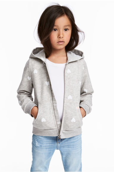 Hooded jacket - Grey heart - Kids | H&M