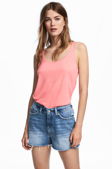 Jersey vest top - Coral pink -  | H&M 1