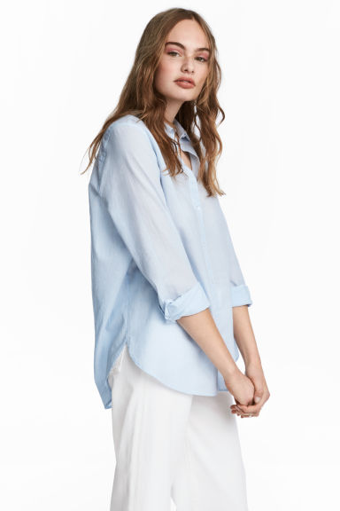 Cotton shirt - Lt.blue/Narrow strip - Ladies | H&M