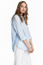 棉質襯衫 - Lt.blue/Narrow strip - Ladies | H&M 1