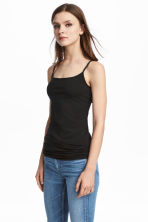 Long jersey strappy top - Black - Ladies | H&M 1