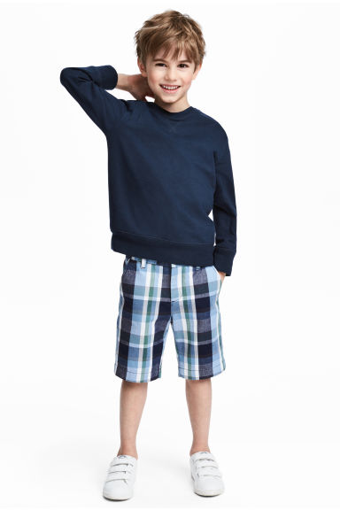 Cotton chino shorts - Dark blue/Checked - Kids | H&M
