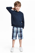 Cotton chino shorts - Dark blue/Checked - Kids | H&M 1