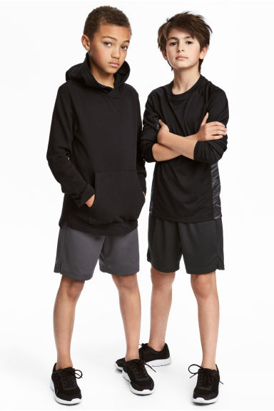 2-pack sports shorts - Black/Dark grey - Kids | H&M