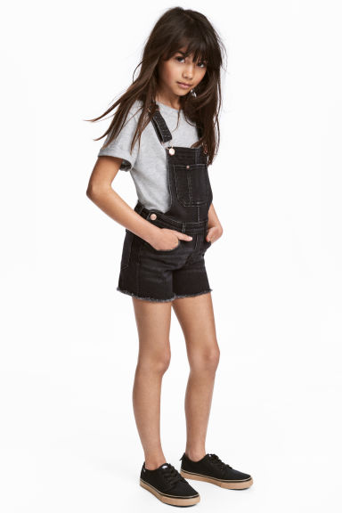 Salopetteshort van lyocellmix - Zwart washed out -  | H&M NL 1