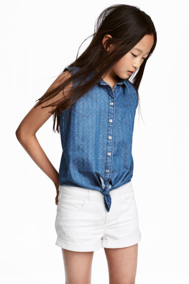 Sleeveless tie-front blouse - Denim blue - Kids | H&M CN