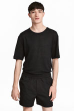 Linen jersey T-shirt - Black - Men | H&M 1