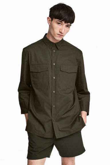 Utility shirt - Dark khaki green - Men | H&M IE