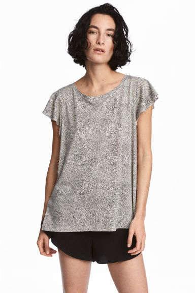 Tricot top - Gebroken wit/stippen - DAMES | H&M BE