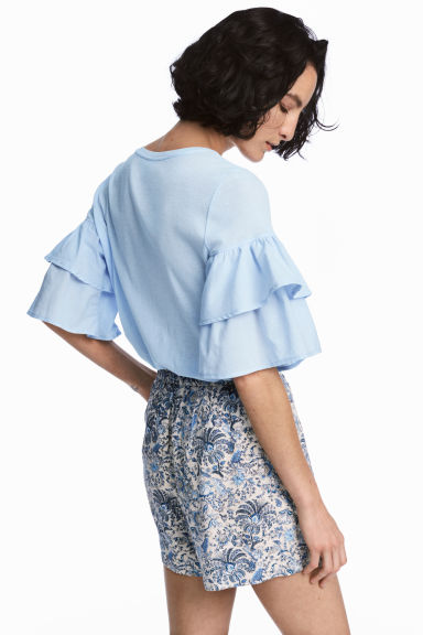 Jersey flounce-sleeved top - Light blue - Ladies | H&M