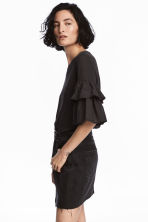 Jersey flounce-sleeved top - Black -  | H&M 1