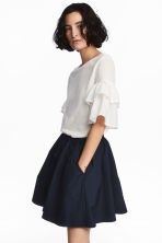 Jersey flounce-sleeved top - White - Ladies | H&M CN 1