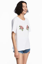 Embroidered T-shirt - White -  | H&M CN 1